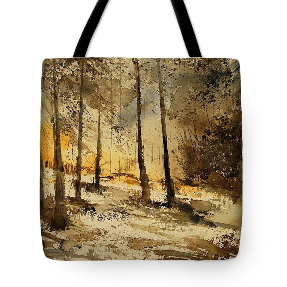 Tree Tote Bag featuring the painting Watercolor 191106 by Pol Ledent