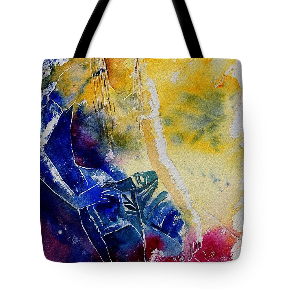 Girl Nude Tote Bag featuring the painting Watercolor 21546 by Pol Ledent
