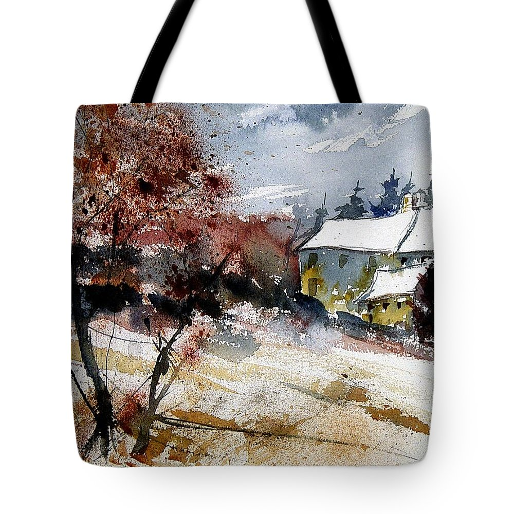 Winter Tote Bag featuring the painting Watercolor 251205 by Pol Ledent