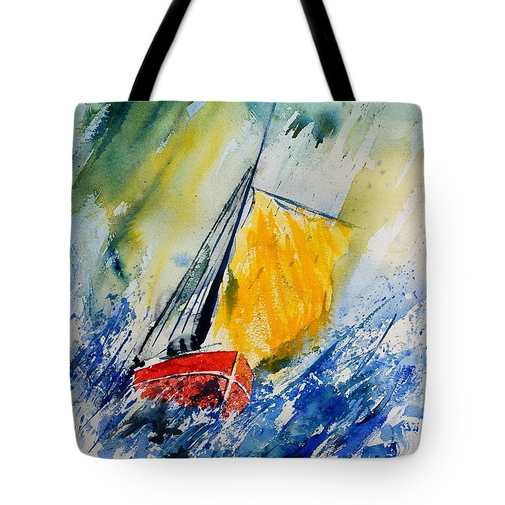 Sea Waves Ocean Boat Sailing Tote Bag featuring the painting Watercolor 280308 by Pol Ledent