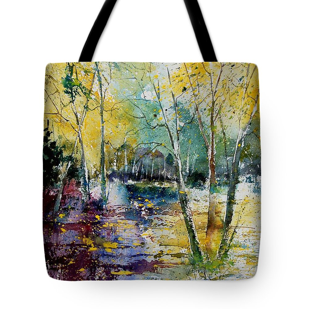 Pond Tote Bag featuring the painting Watercolor 280809 by Pol Ledent