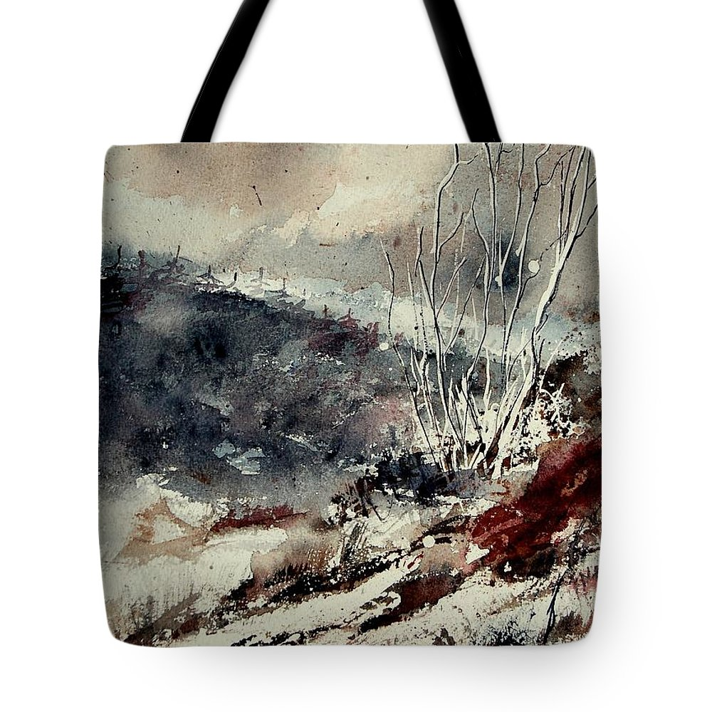 Winter Tote Bag featuring the painting Watercolor 281207 by Pol Ledent