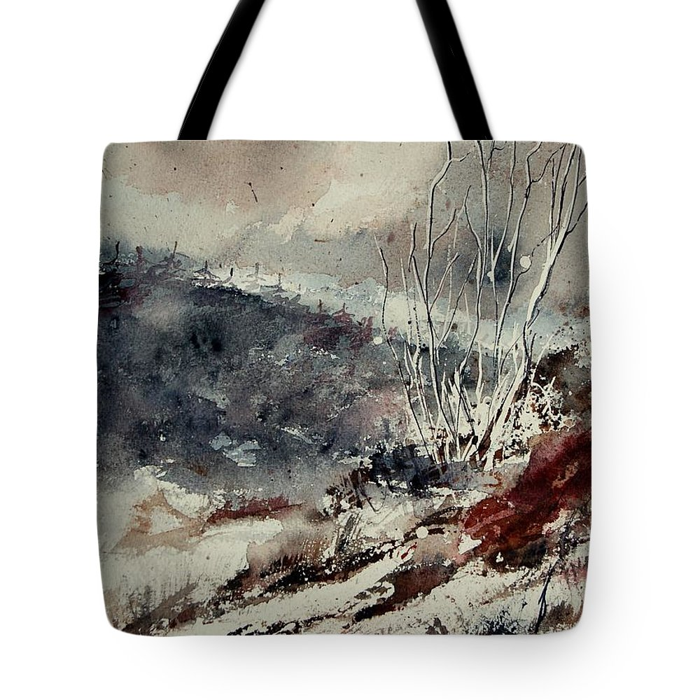 Snow Tote Bag featuring the print Watercolor 446 by Pol Ledent