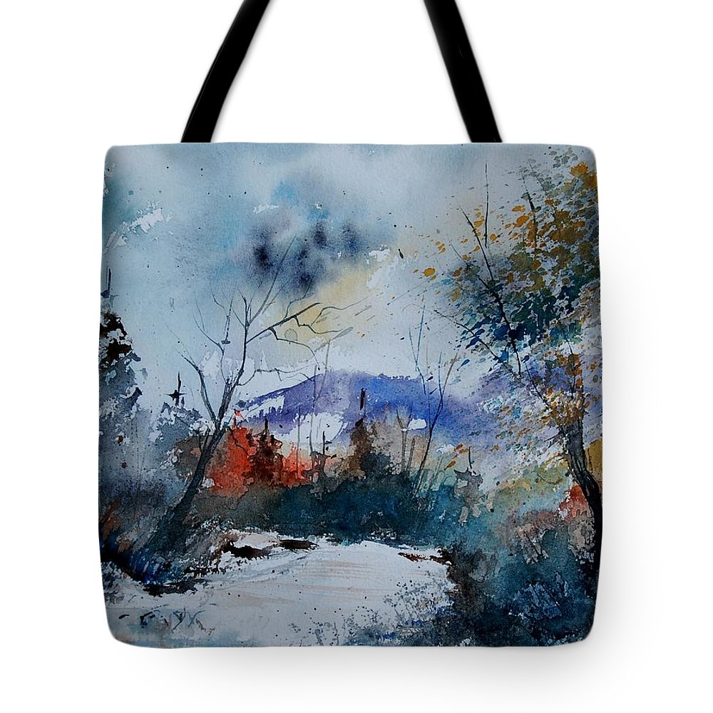 Landscape Tote Bag featuring the painting Watercolor 802120 by Pol Ledent