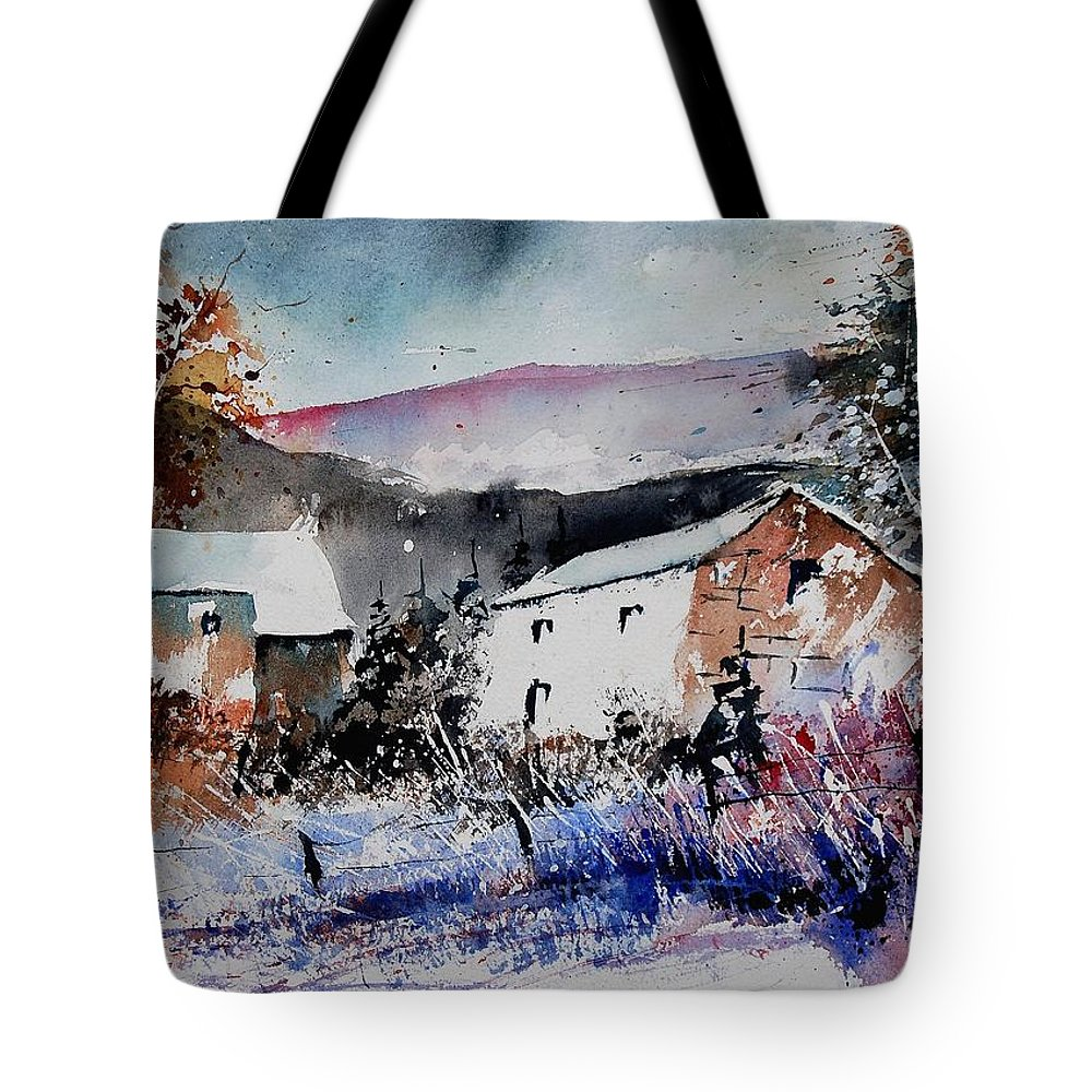 Winter Tote Bag featuring the painting Watercolor 902080 by Pol Ledent