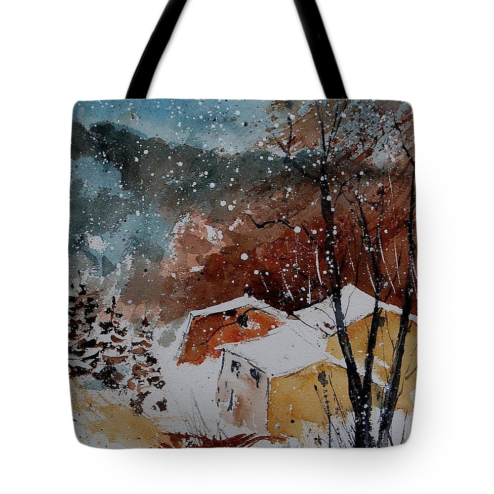 Winter Tote Bag featuring the painting Watercolor 902113 by Pol Ledent