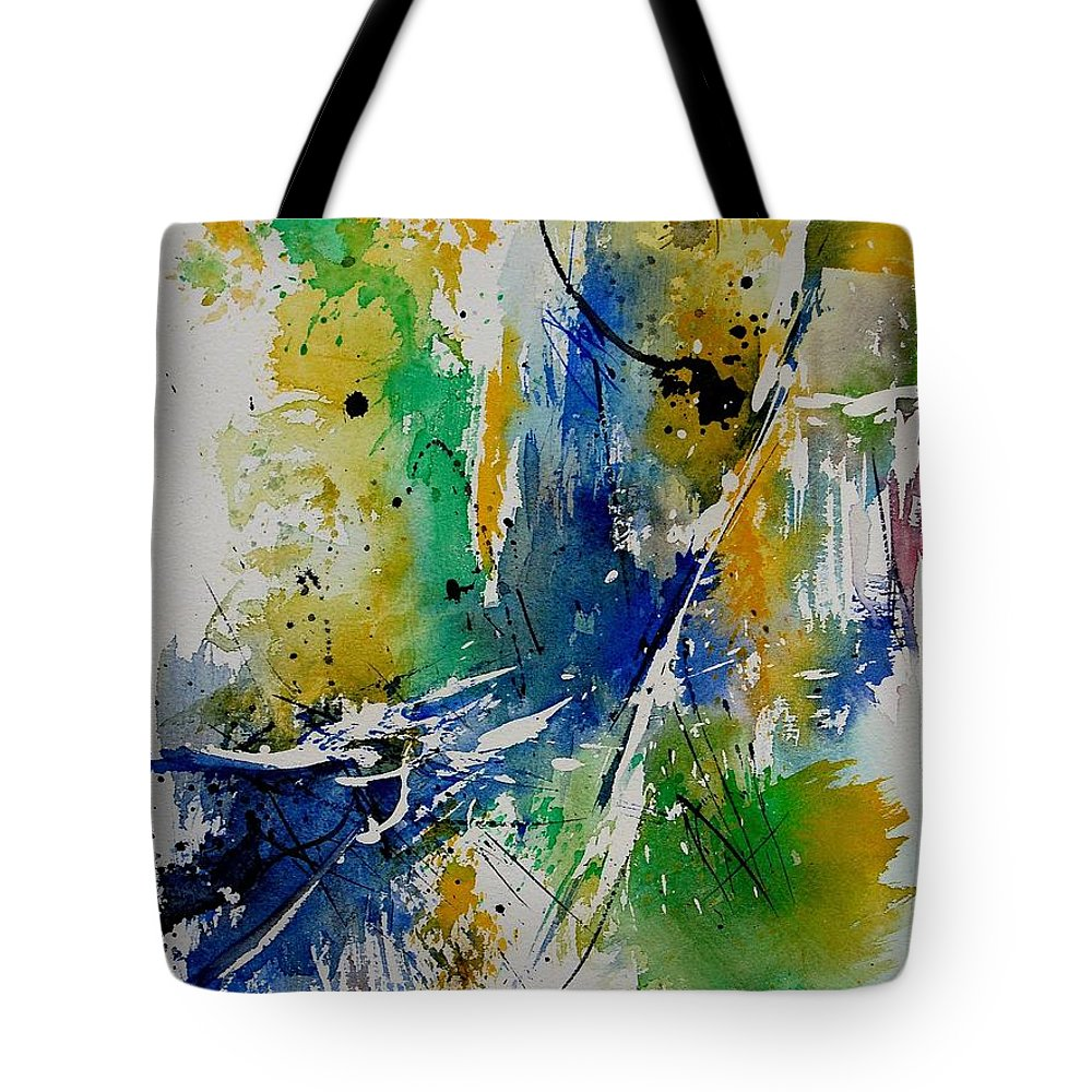 Abstract Tote Bag featuring the painting Watercolor 902180 by Pol Ledent