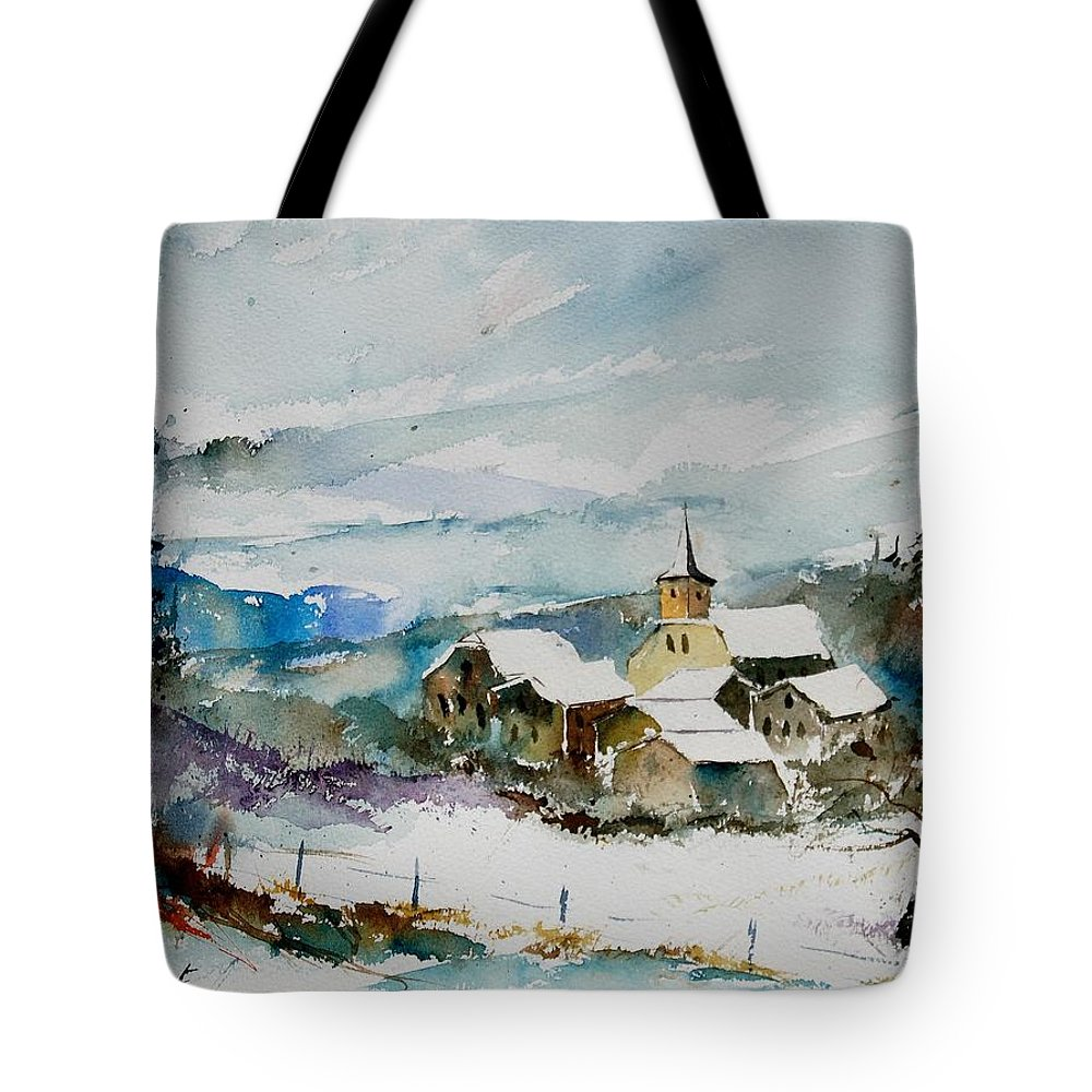 Winter Tote Bag featuring the painting Watercolor 908011 by Pol Ledent
