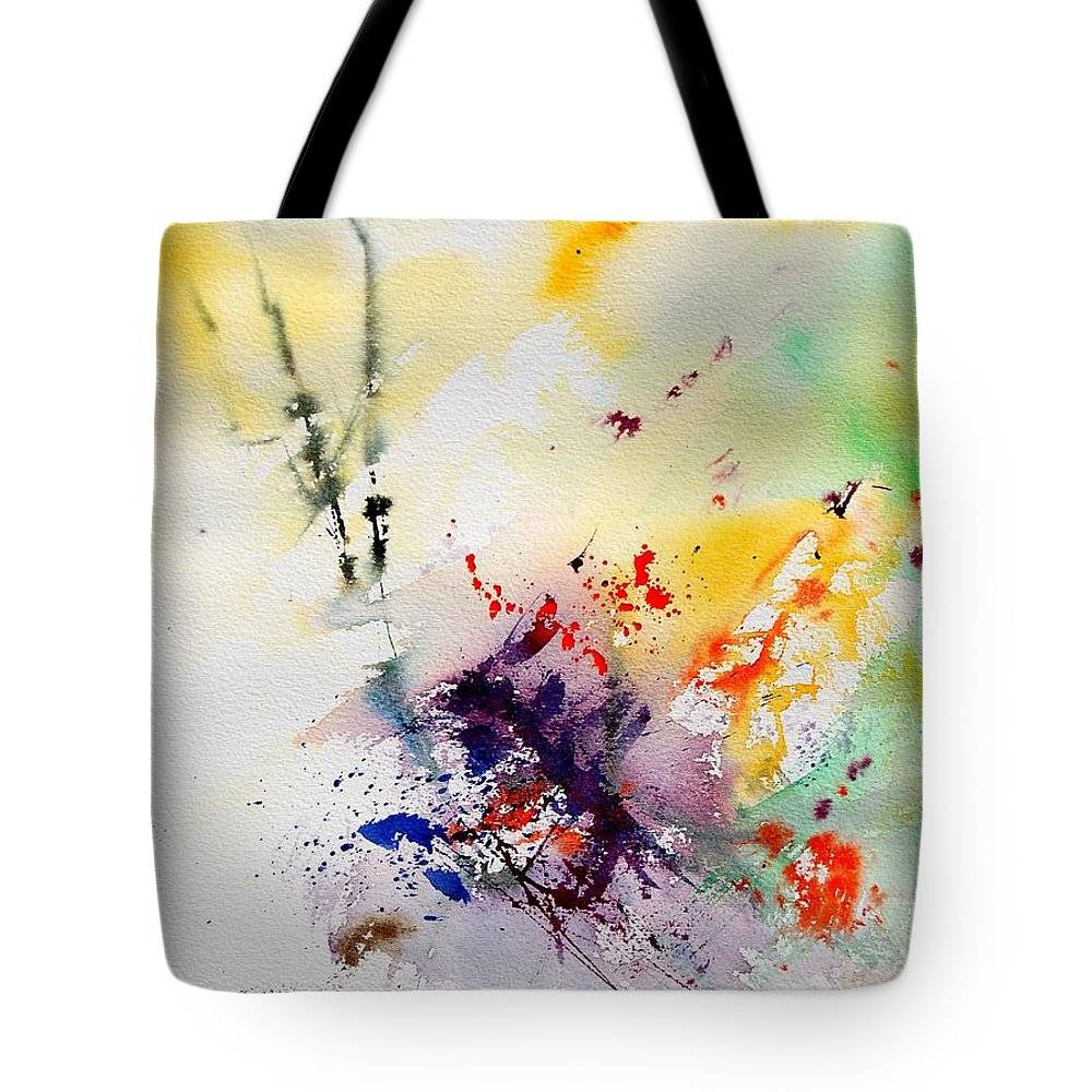 Abstract Tote Bag featuring the painting Watercolor 908090 by Pol Ledent