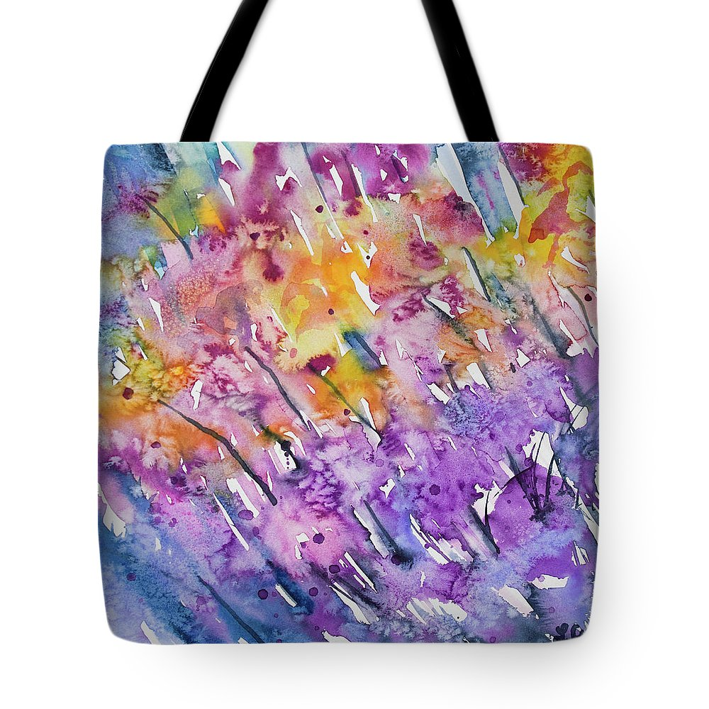 Flower Tote Bag featuring the painting Watercolor - Abstract Flower Garden by Cascade Colors