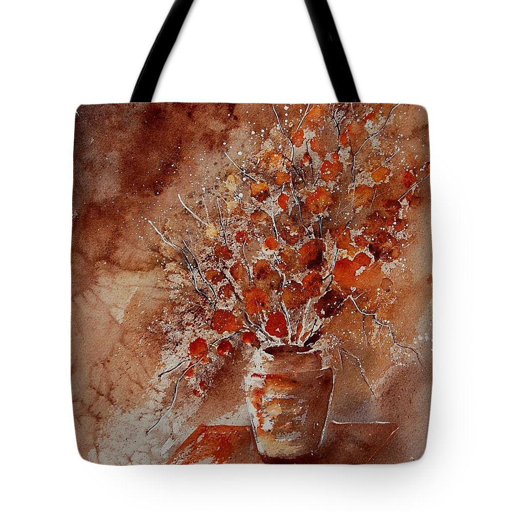 Poppies Tote Bag featuring the painting Watercolor Autumn Bunch by Pol Ledent