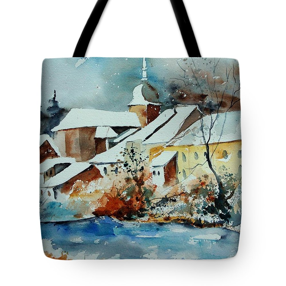 Landscape Tote Bag featuring the painting Watercolor Chassepierre by Pol Ledent