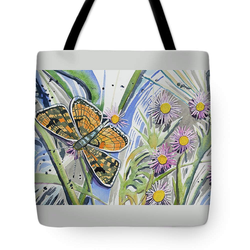 Checkerspot Tote Bag featuring the painting Watercolor - Checkerspot Butterfly With Wildflowers by Cascade Colors