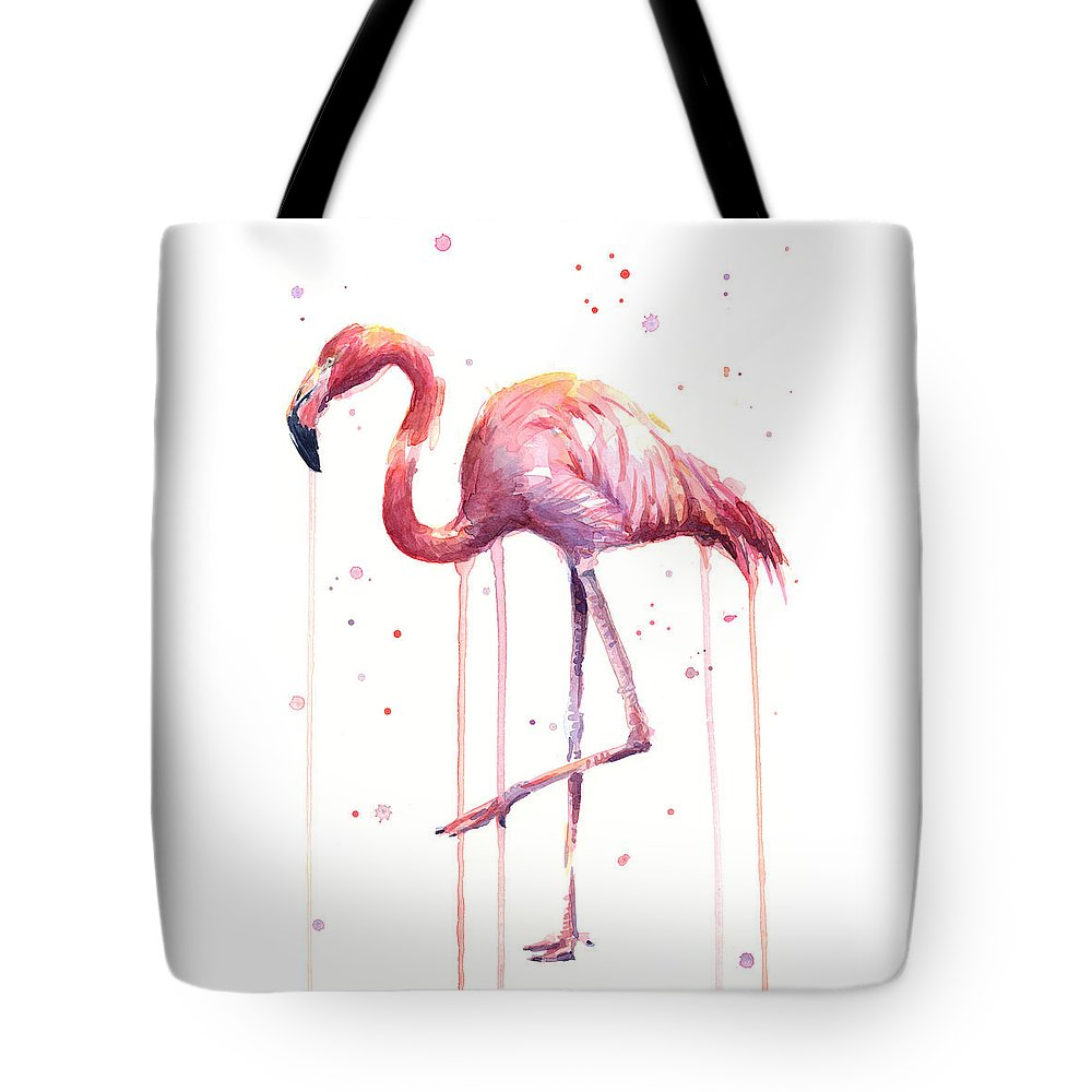 Watercolor Flamingo Tote Bag featuring the painting Watercolor Flamingo by Olga Shvartsur