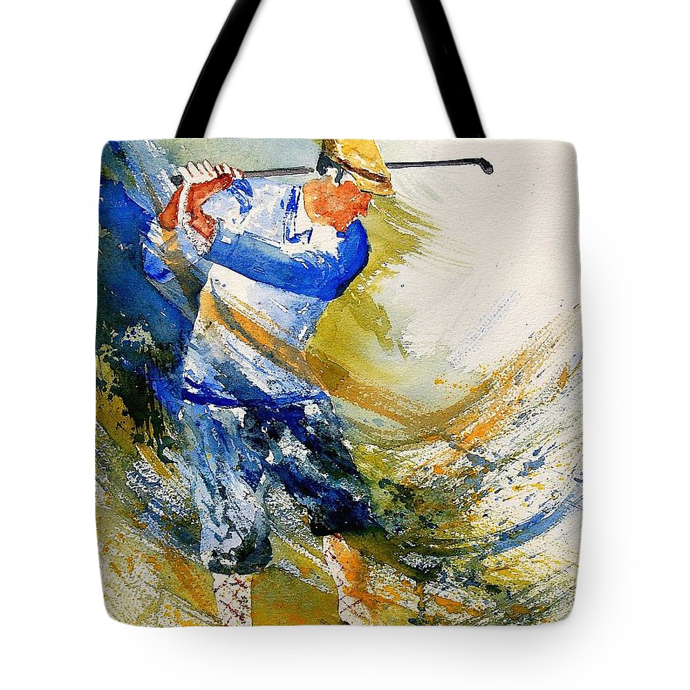 Golf Tote Bag featuring the painting Watercolor Golf Player by Pol Ledent
