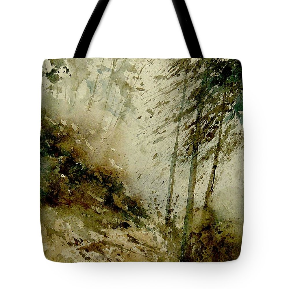 Landscape Tote Bag featuring the painting Watercolor Misty Atmosphere by Pol Ledent