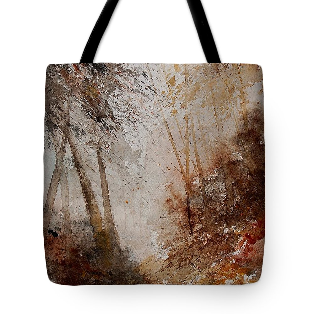 Landscape Tote Bag featuring the painting Watercolor Misty Path by Pol Ledent