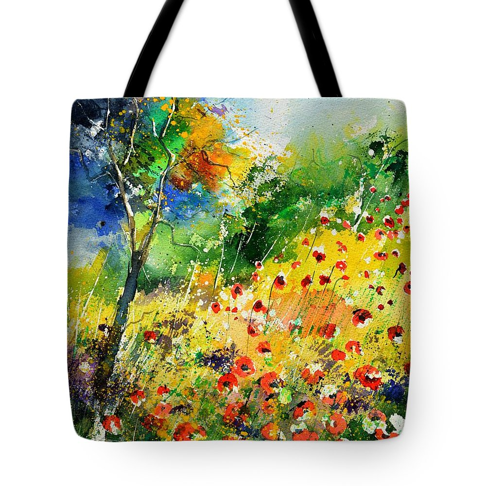 Poppies Tote Bag featuring the painting Watercolor poppies 518001 by Pol Ledent