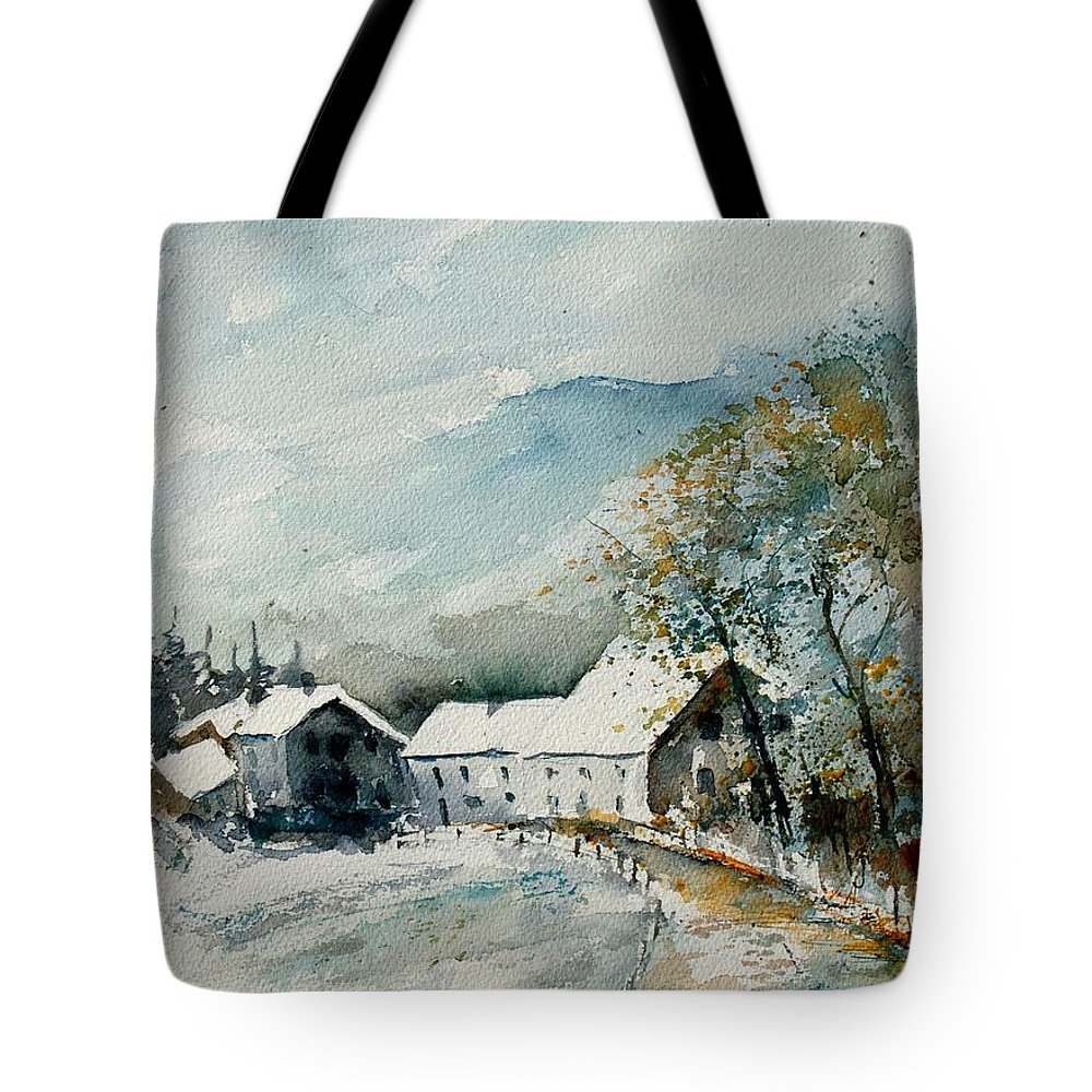 River Tote Bag featuring the painting Watercolor Sechery 1207 by Pol Ledent