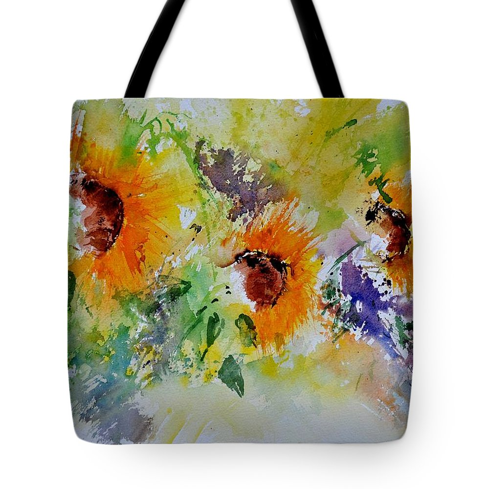 Flowers Tote Bag featuring the painting Watercolor Sunflowers by Pol Ledent