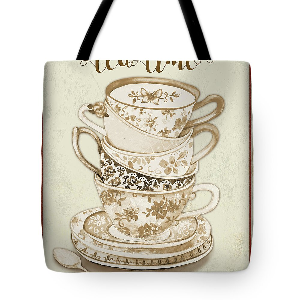 Tea Tote Bag featuring the painting Watercolor Teacups-e by Jean Plout