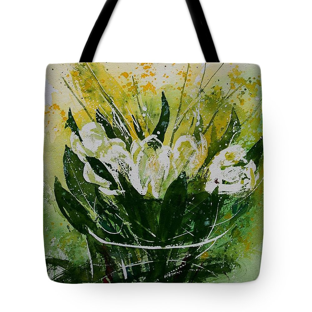 Flowers Tote Bag featuring the painting Watercolor Tulips by Pol Ledent