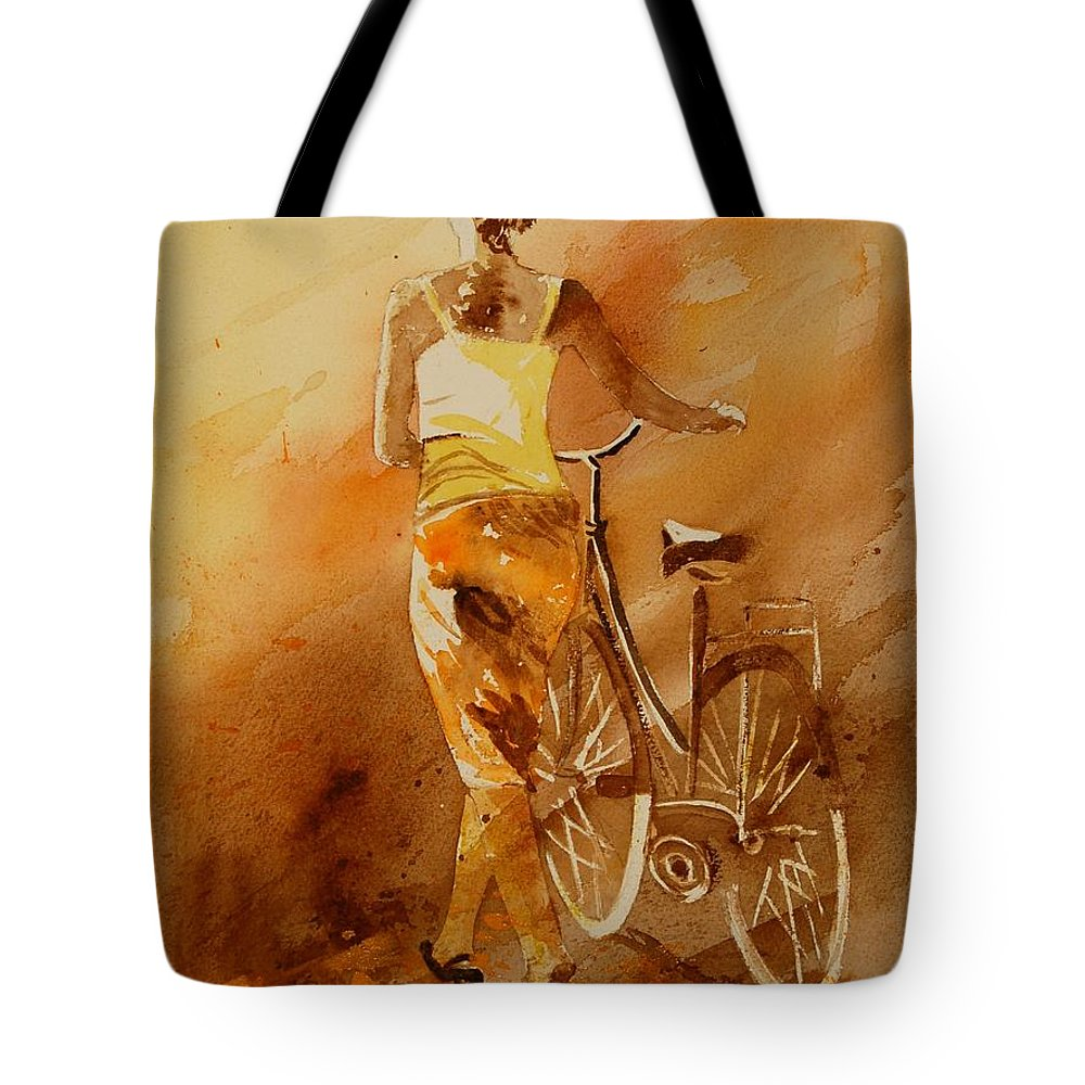 Figurative Tote Bag featuring the painting Watercolor With My Bike by Pol Ledent