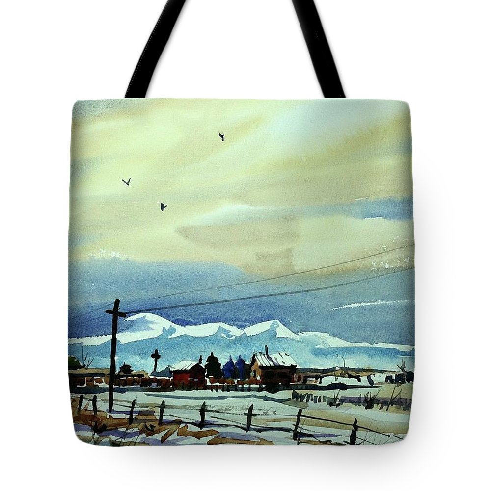 Colorado Landscapes Tote Bag featuring the painting Watercolor_3487 by Ugljesa Janjic