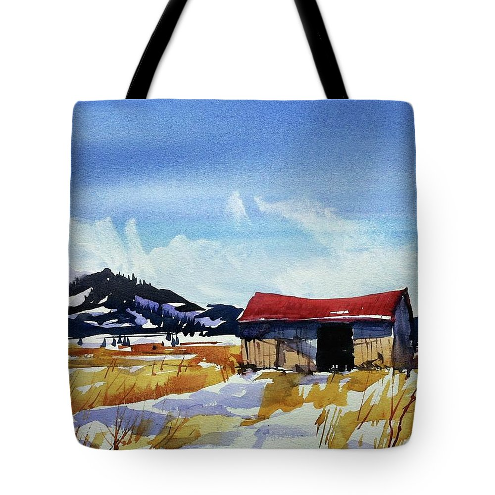 Colorado Landscape Tote Bag featuring the painting Watercolor3557 by Ugljesa Janjic