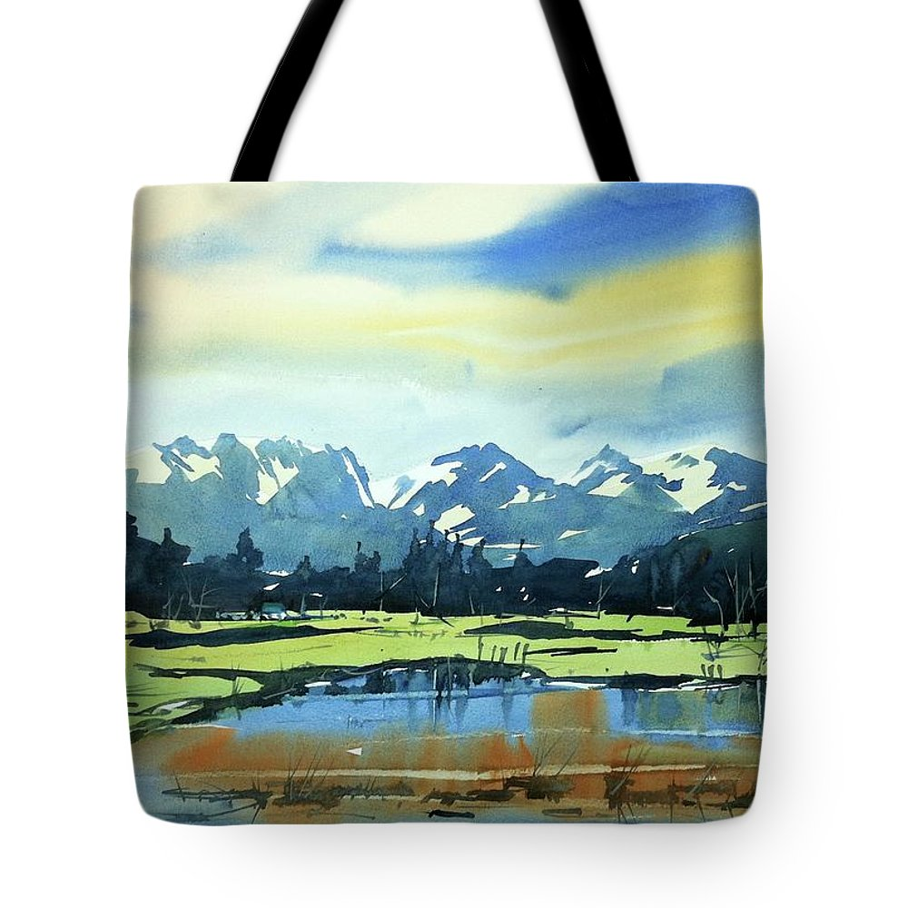 Colorado Landscape Tote Bag featuring the painting Watercolor3620 by Ugljesa Janjic