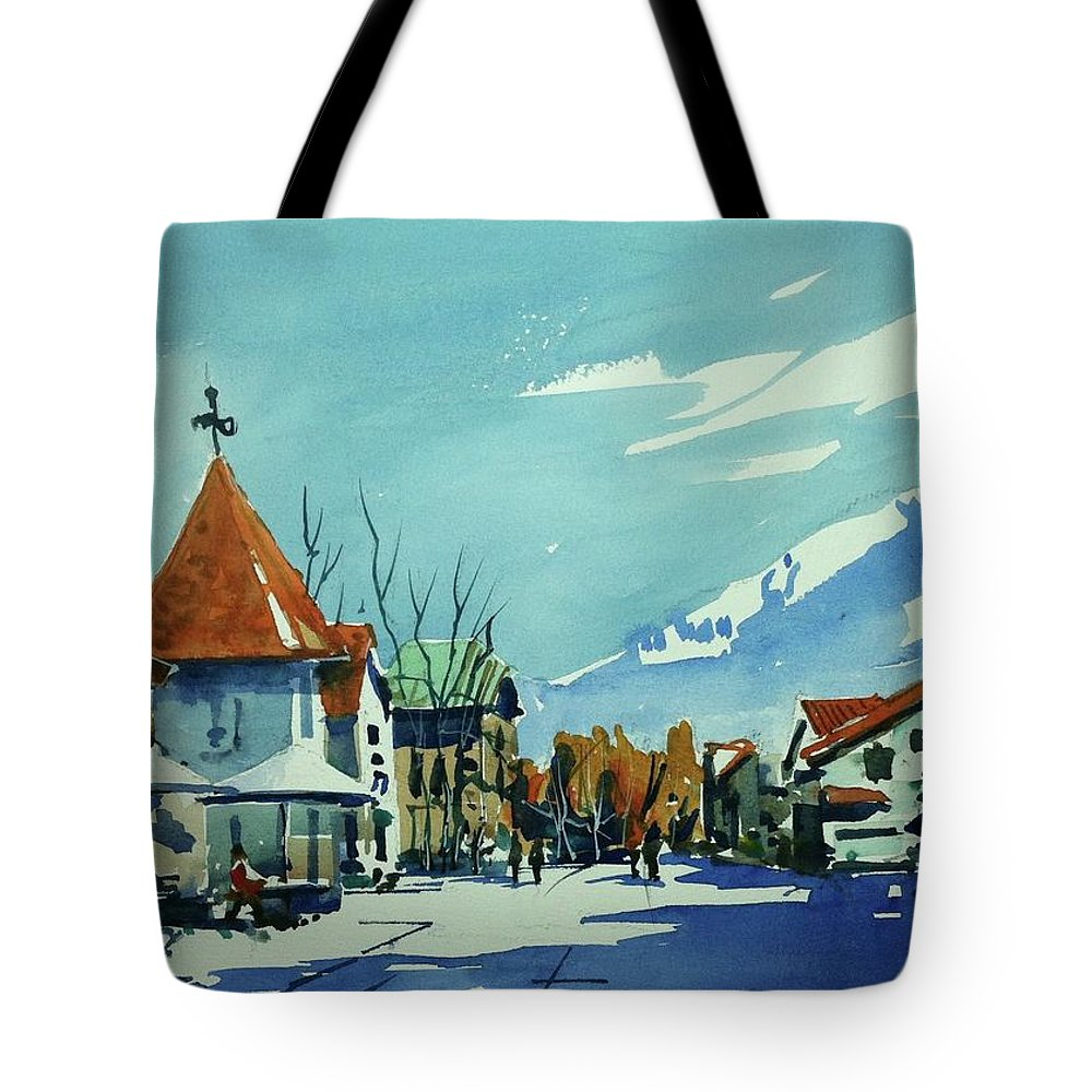 Colorado Landscape Vail Tote Bag featuring the painting Watercolor3839 by Ugljesa Janjic