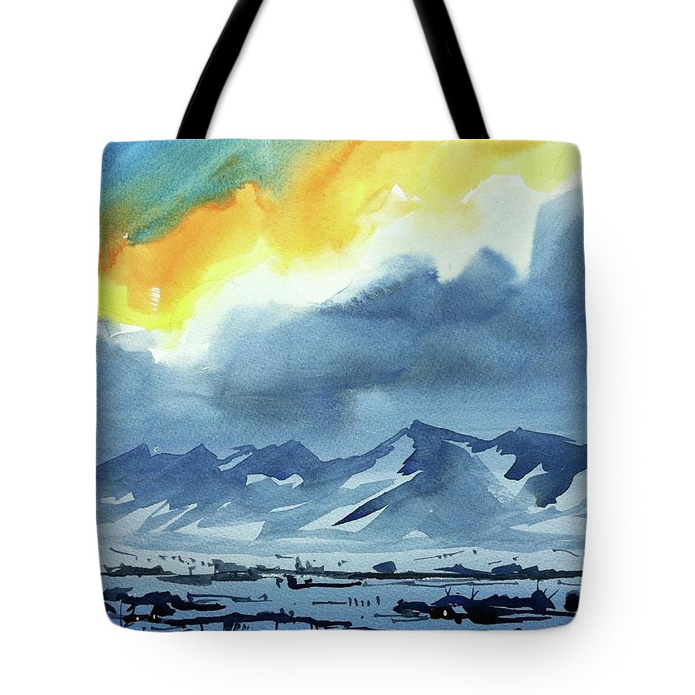 Colorado Landscape Tote Bag featuring the painting Watercolor3987 by Ugljesa Janjic