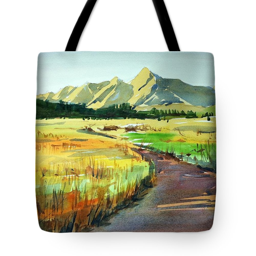 Colorado Landscape Tote Bag featuring the painting Watercolor4476 by Ugljesa Janjic