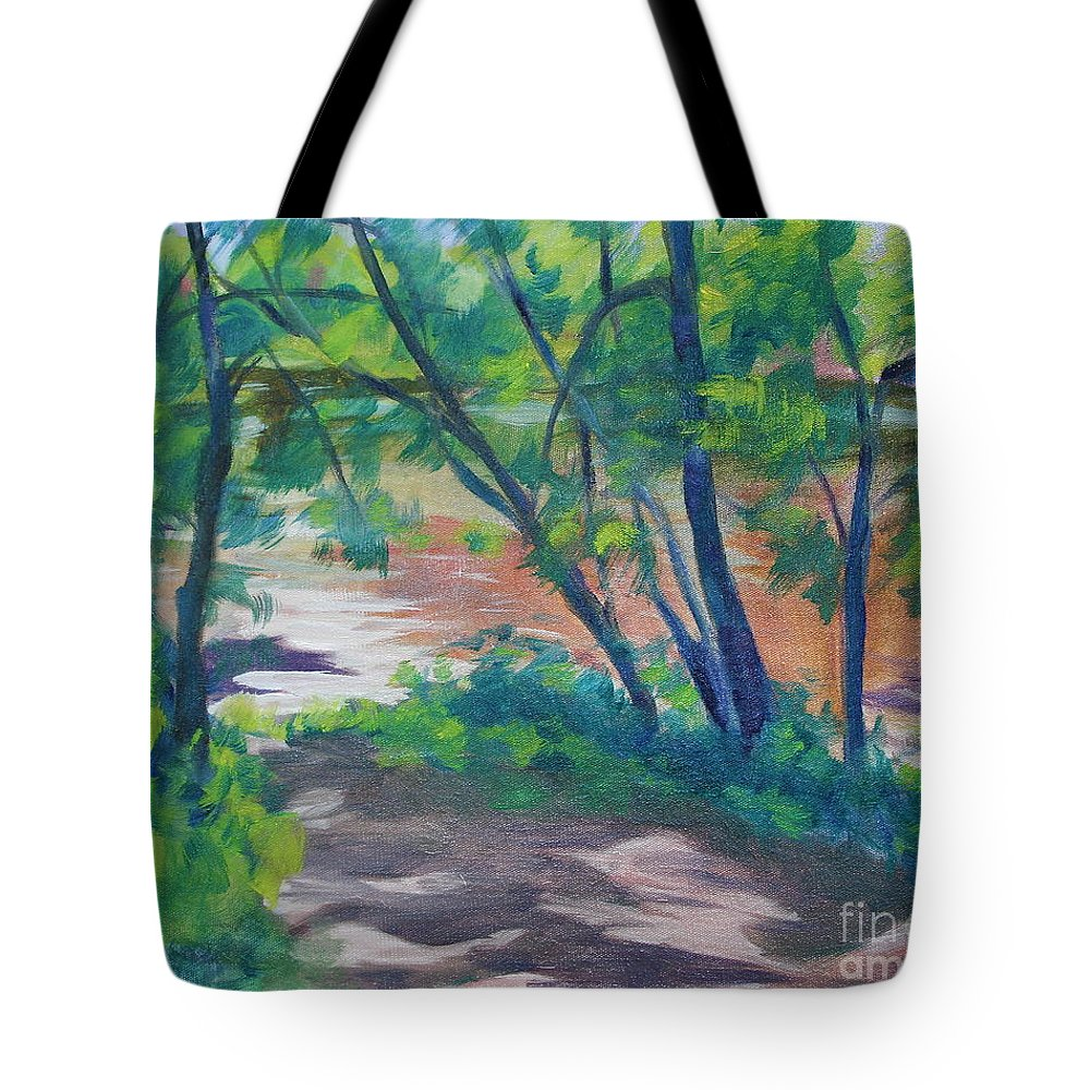Landscape Tote Bag featuring the painting Watercress Beach on the Current River  by Jan Bennicoff