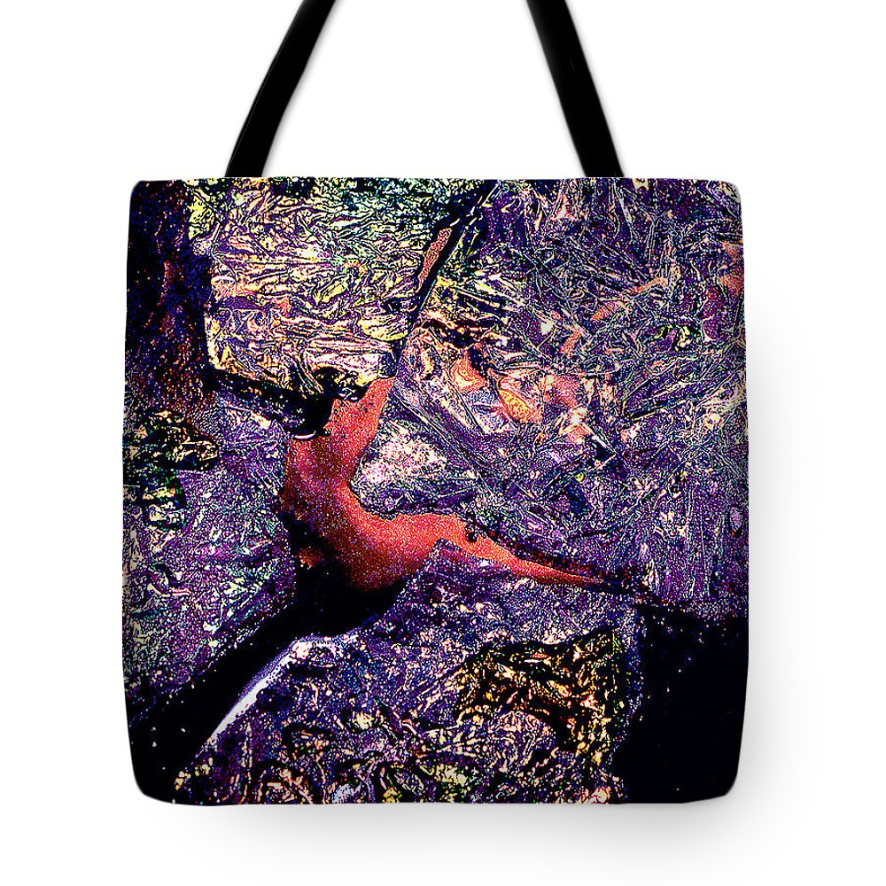 Water Tote Bag featuring the photograph Waterdrop Abstract by Nancy Mueller
