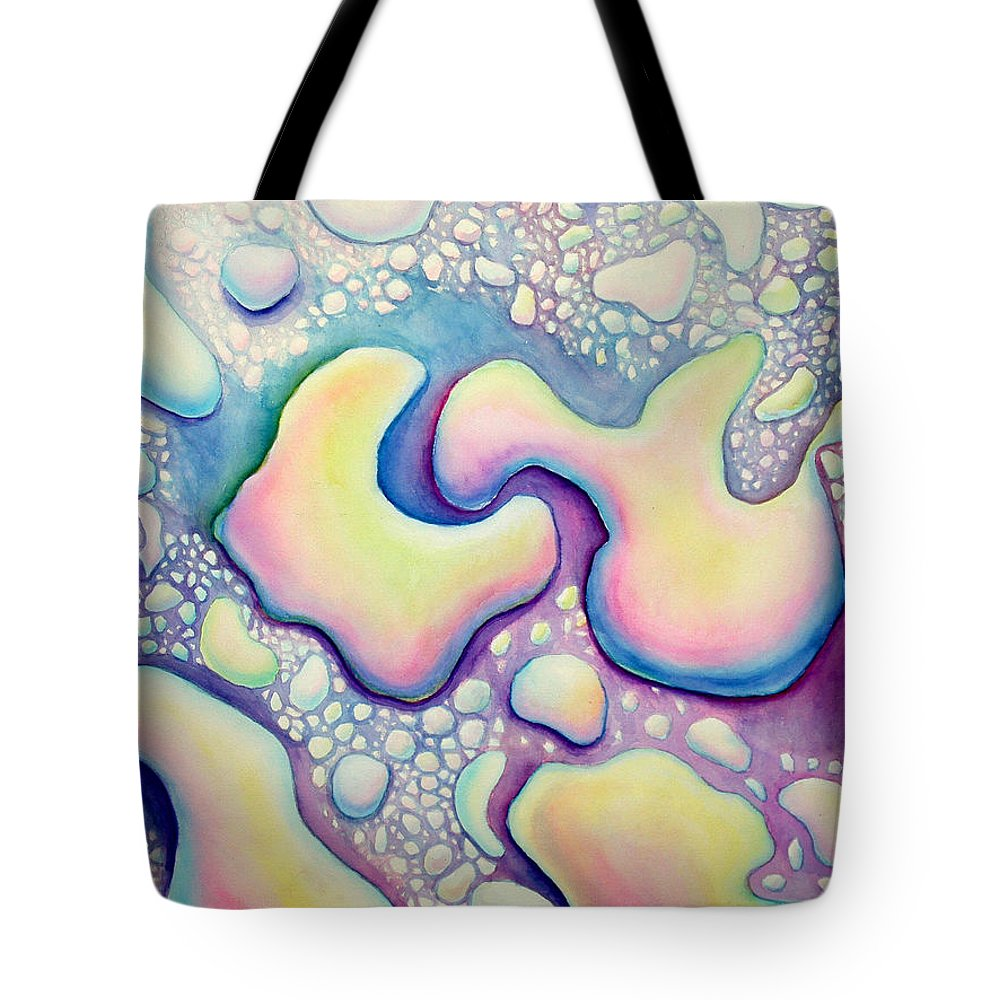 Water Tote Bag featuring the painting Waterdrop Dance by Nancy Mueller