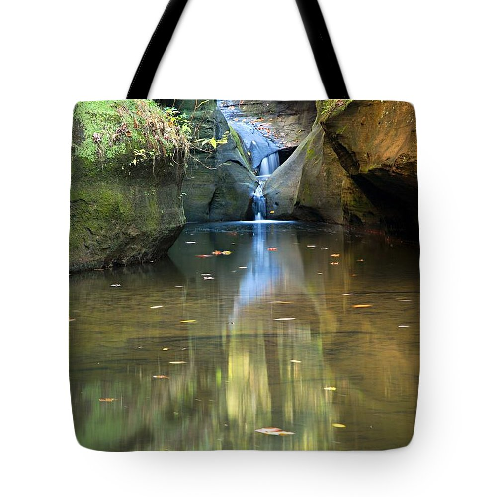 Old Man Cave State Park Tote Bag featuring the photograph Waterfall And Reflection by Larry Ricker