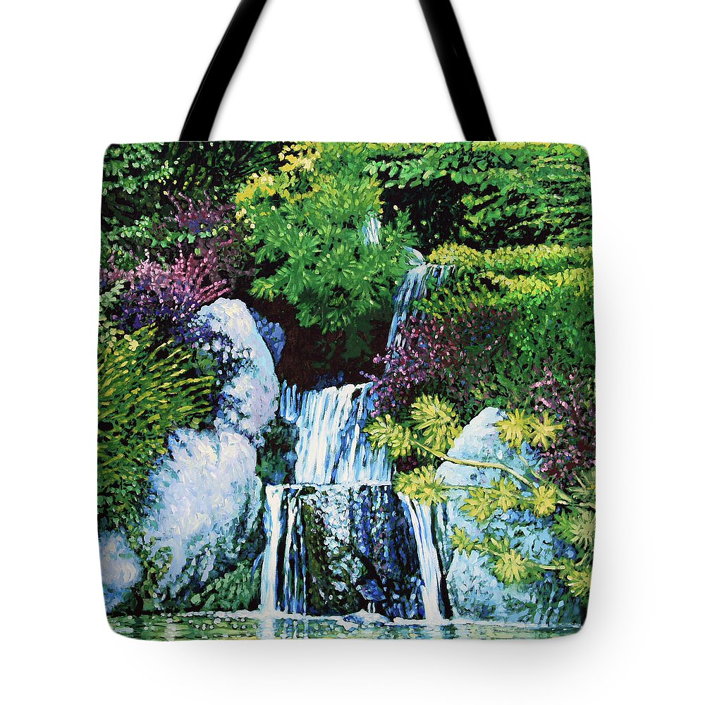 Waterfall Tote Bag featuring the painting Waterfall At Japanese Garden by John Lautermilch
