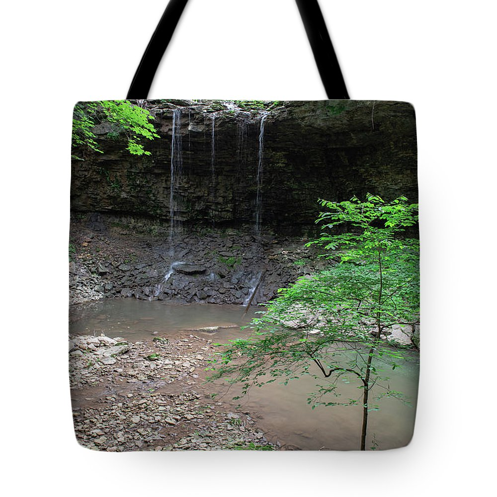 Waterfall Tote Bag featuring the photograph Waterfall Base by Wesley Farnsworth