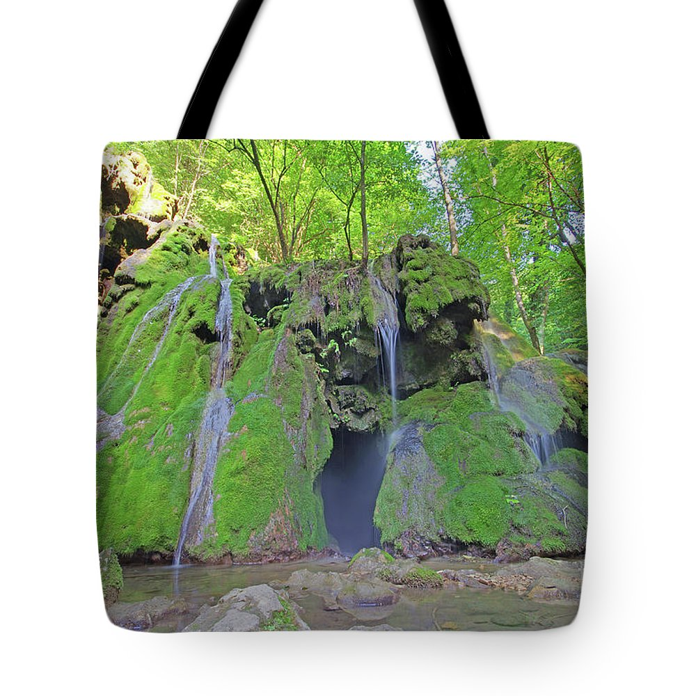 Waterfall Tote Bag featuring the photograph 'waterfall by Cosmin-Constantin Sava