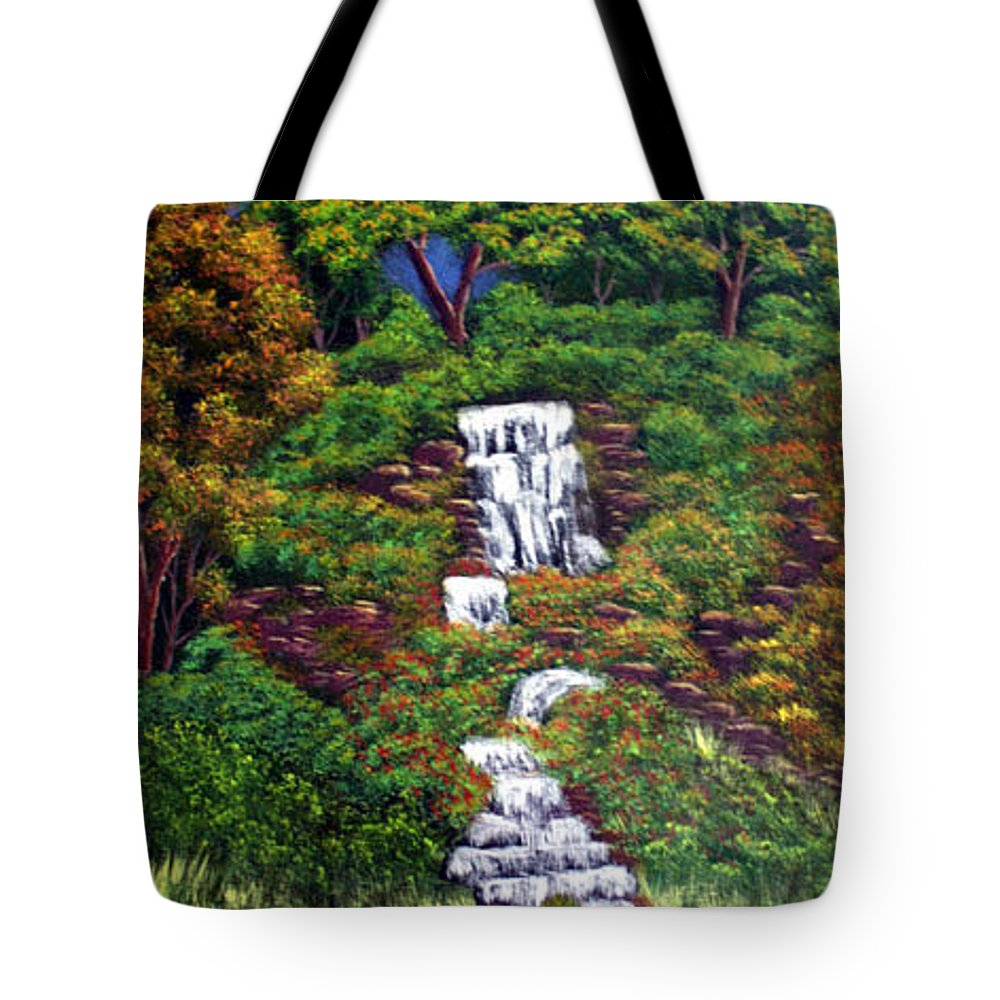 Waterfall Tote Bag featuring the painting Waterfall by Dawn Blair