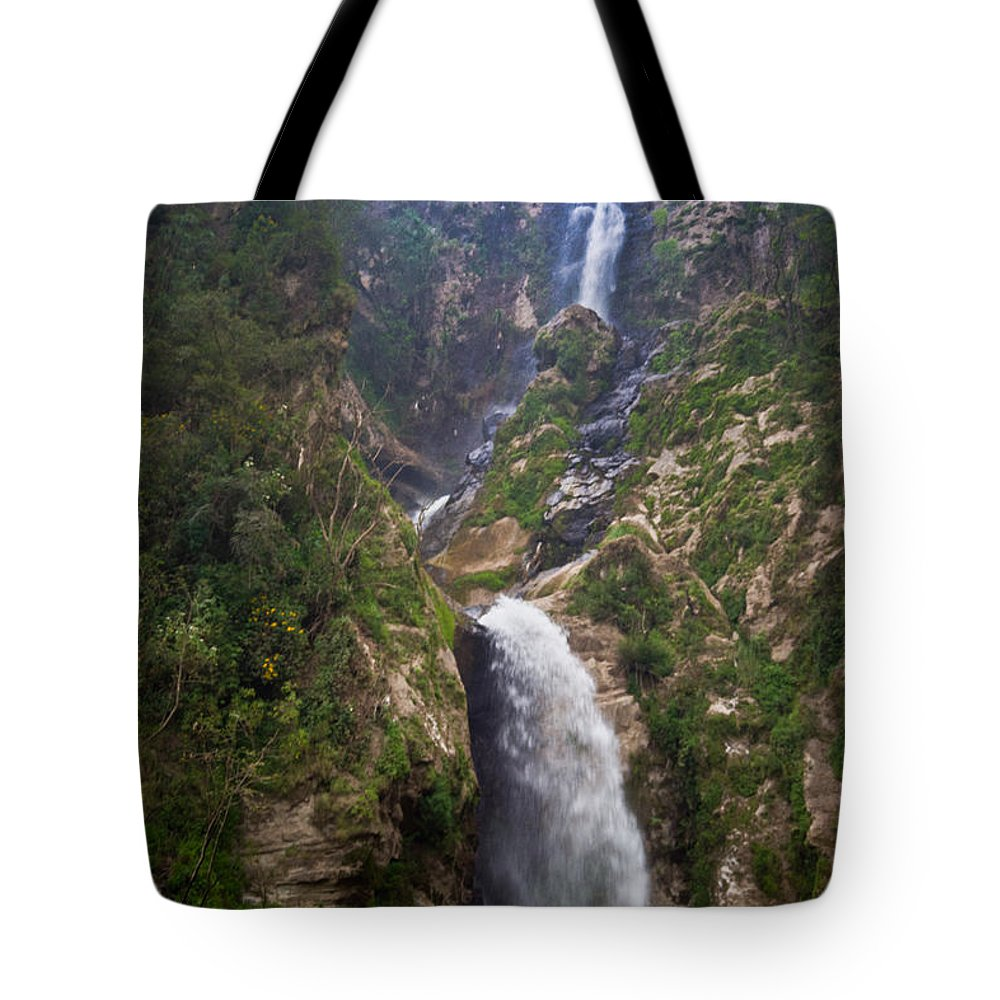 Highlands Tote Bag featuring the photograph Waterfall Highlands Of Guatemala 1 by Douglas Barnett