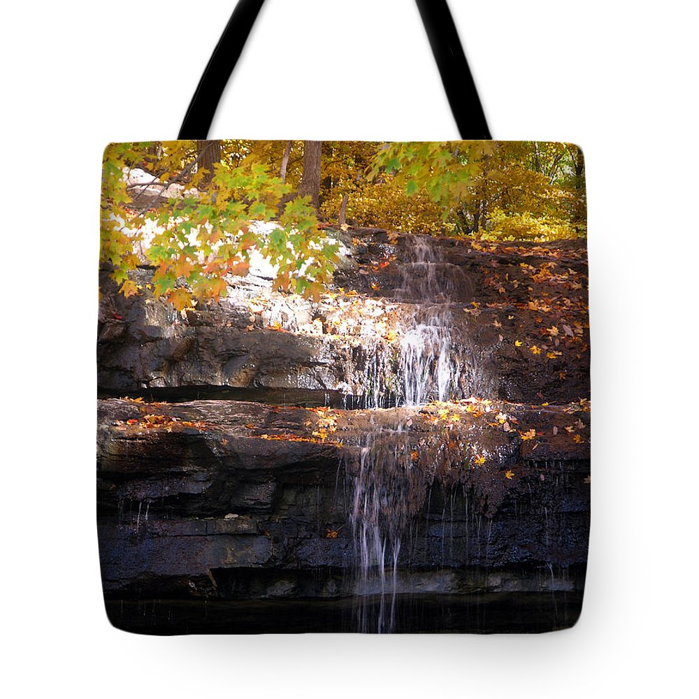 Waterfall Tote Bag featuring the photograph Waterfall In Creve Coeur by John Lautermilch
