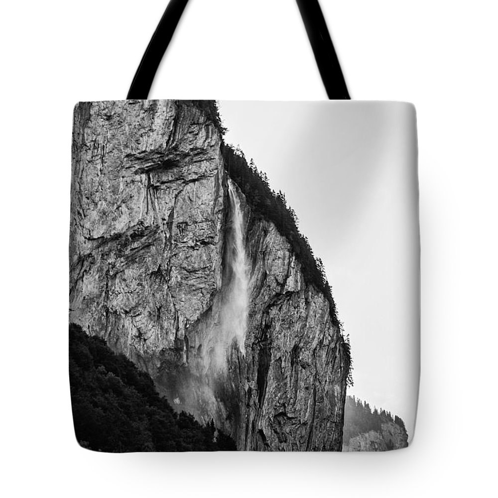 Water Tote Bag featuring the photograph waterfall in Switzerland by FL collection
