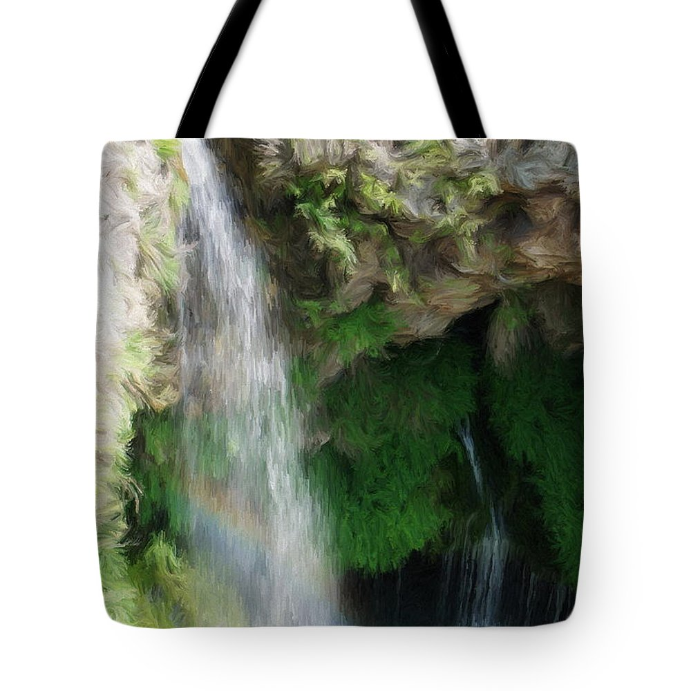 Waterfall Tote Bag featuring the painting Waterfall by Jeffrey Kolker