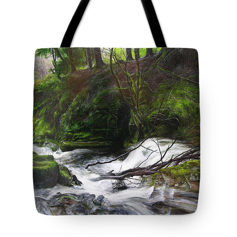 Landscape Tote Bag featuring the painting Waterfall Near Tallybont-on-usk Wales by Harry Robertson