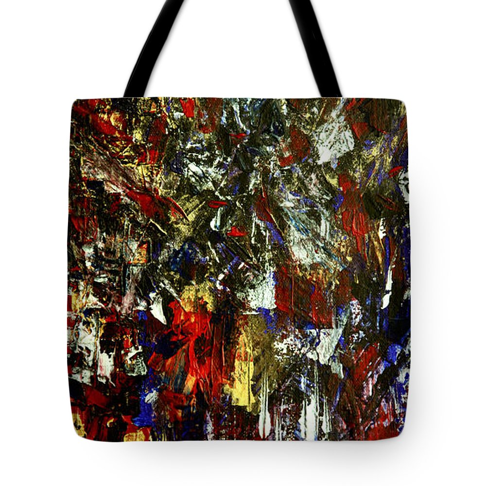 Waterfall Tote Bag featuring the painting Waterfall Of Wishes In Red by Nina Nabokova