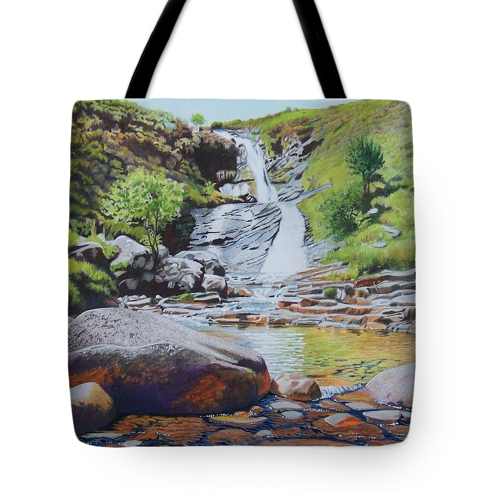 Waterfall Tote Bag featuring the mixed media Waterfall On Skye 2 by Constance Drescher