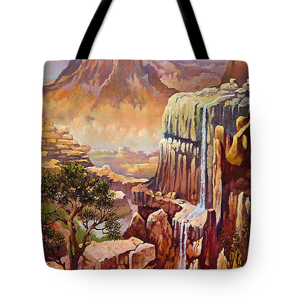 Waterfall Mountains Rocks Southwest Mountains Colorado Arizona Giclee Prints Tote Bag featuring the painting Waterfall Rocks And Sun by Donn Kay