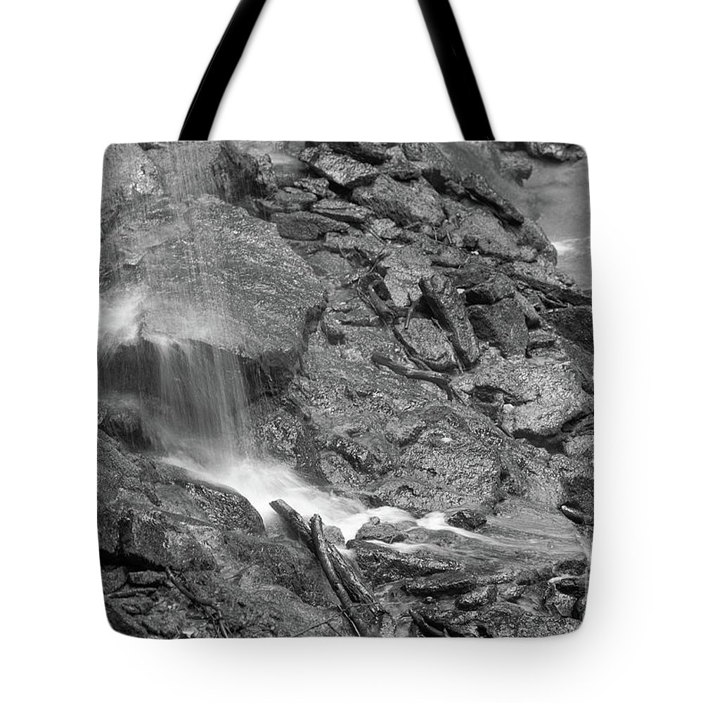 Black And White Tote Bag featuring the photograph Waterfall Stream by Wesley Farnsworth